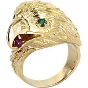 American Bald Eagle Ring Vintage 18 Karat Gold Ruby Emerald Mens Estate Jewelry