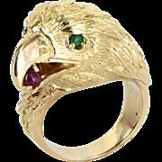 American Bald Eagle Ring Vintage 18 Karat Gold Ruby Emerald Mens Estate Jewelry