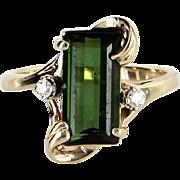 Green Tourmaline Diamond Cocktail Ring Vintage 14 Karat Yellow Gold Estate Jewelry