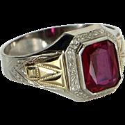 Vintage Art Deco Ostby Barton Red Stone Ring 10 Karat Gold Estate Fine Jewelry