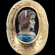 Painted Enamel Portrait Ring Antique Deco 14 Karat Gold Cocktail Ring Vintage Jewelry
