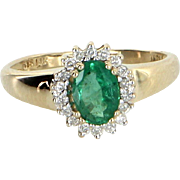 Emerald Diamond Princess Cocktail Ring Vintage 14 Karat Yellow Gold Estate Jewel