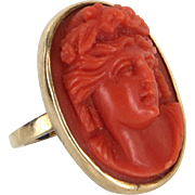 Vintage Art Deco Coral High Relief Cameo Cocktail Ring Estate 14 Karat Yellow Gold