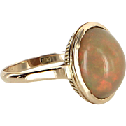 Natural Mexican Fire Opal Cocktail Ring Vintage 14 Karat Yellow Gold Estate Jewelry