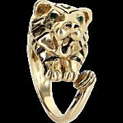 Bengal Tiger Ring Vintage 14 Karat Yellow Gold Black Enamel Estate Fine Jewelry