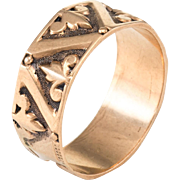 Antique Victorian 9 Karat Rose Gold Fleur de Lis Wedding Band Ring Vintage Sz 8.25 F