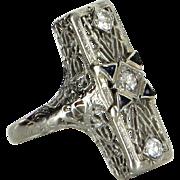 Vintage Art Deco Belais Diamond Sapphire Filigree Cocktail Ring Estate 14k Gold