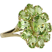Peridot Oval Cluster Ring Vintage 14 Karat Yellow Gold Estate Fine Jewelry Pre Owned