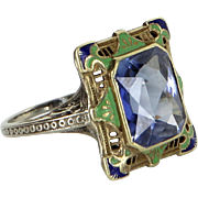 Vintage Art Deco Enamel Filigree Ring Vintage 14 Karat Gold Estate Fine Jewelry Heirloom