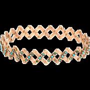 Antique Victorian Accordian Expandable Bracelet 14 Karat Rose Gold Vintage Jewelry
