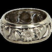 Vintage Art Deco Bells & Flowers Wedding Band Ring Estate 14 Karat White Gold Sz 7