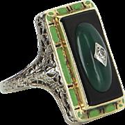 Antique Deco Enamel Cocktail Ring Onyx Chrysoprase Diamond 14 Karat Gold Estate