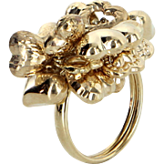 Puffed Heart Charm Ring Vintage 14 Karat Yellow Gold Estate Fine Jewelry Pre Owned
