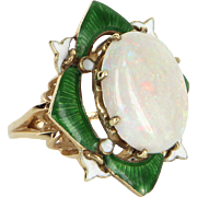 Vintage Art Deco Opal Enamel Fleur de Lis Cocktail Ring Estate 14 Karat Yellow Gold