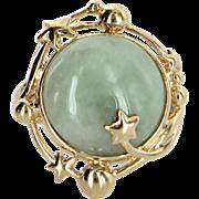 Celestial Moon & Star Jade Cocktail Ring Vintage 14 Karat Gold Estate Fine Jewelry