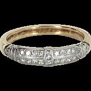 Vintage Art Deco Diamond Wedding Ring Band Platinum 14 Karat Gold Estate Jewelry Fine