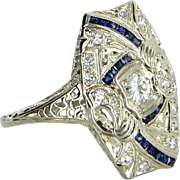 Vintage Art Deco Diamond Sapphire Sheild Cocktail Ring Vintage 18 Karat Gold Heirloom