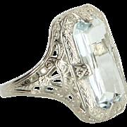Ostby Barton Aquamarine Filigree Cocktail Ring Vintage 14 Karat White Gold Estate
