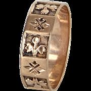 Antique Victorian Embossed Fleur de Lis Wedding Band Ring Vintage 14k Rose Gold