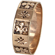 Antique Victorian Embossed Fleur de Lis Wedding Band Ring Vintage 14k Rose Gold