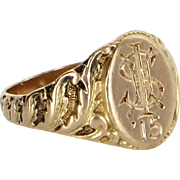 Antique Edwardian c1915 Signet Ring Initial S Vintage Fine Jewelry Heirloom Fine 14 Karat Gold