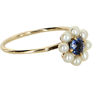 Antique Victorian Sapphire Cultured Pearl Conversion Ring Vintage 14 Karat Gold Fine