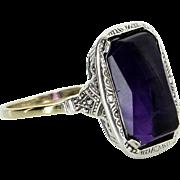 Vintage Art Deco Amethyst Cocktail Ring Vintage 18 Karat Gold Estate Fine Jewelry
