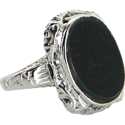 Vintage Art Deco Bloodstone Filigree Ring 14 Karat White Gold Estate Jewelry