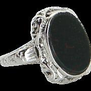 Vintage Art Deco Bloodstone Filigree Ring 14 Karat White Gold Estate Jewelry