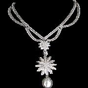 Tiffany & Co Sunburst Diamond Pearl Drop Necklace 950 Platinum Estate Signed