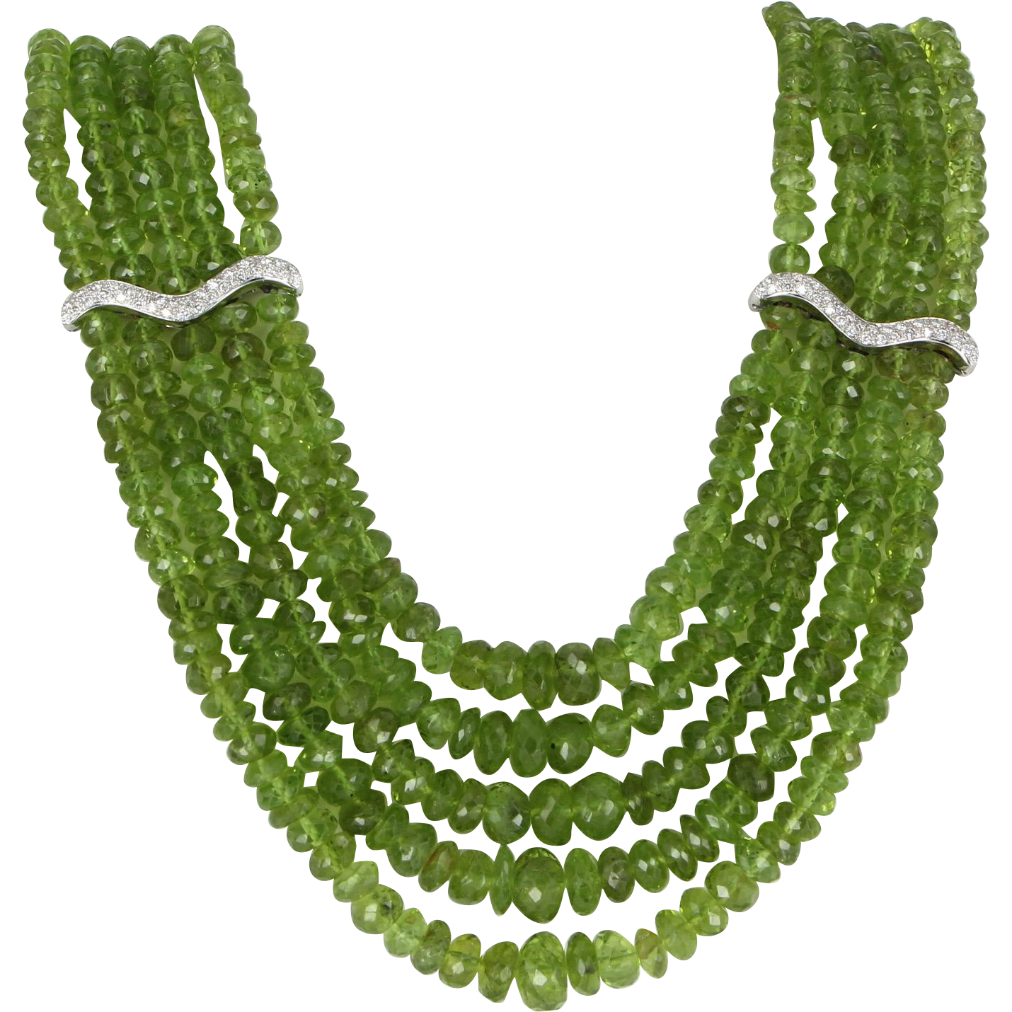 Antonini Peridot Diamond Estate 5 Strand Necklace 18 Karat White Gold Designer Pre Owned