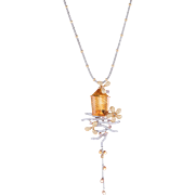 Pink Yellow Diamond Citrine Drop Necklace Estate 18 Karat Gold Vintage Fine Jewelry