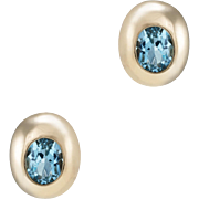 Blue Topaz Stud Earrings Vintage 14 Karat Yellow Gold Estate Fine Jewelry Pre Owned