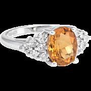 Golden Citrine Diamond Cocktail Ring Vintage 14 Karat White Gold Estate Fine Jewelry