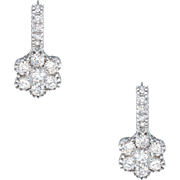 1.33ct Diamond Flower Drop Earrings Estate 18 Karat White Gold Fine Jewelry Pre Owned
