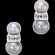 Tahitian Cultured Pearl Diamond Earrings Estate 14 Karat White Gold Fine Jewelry