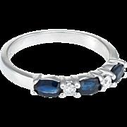 Sapphire Diamond Band Ring Sz 7 Vintage 14 Karat White Gold Estate Fine Jewelry
