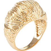 Textured Dome Cocktail Ring Vintage 14 Karat Yellow Gold Estate Fine Jewelry