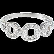 Diamond Circle Link Ring Vintage 18 Karat White Gold Estate Fine Jewelry Pre Owned
