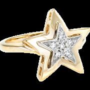 Diamond Star Cocktail Pinky Ring Vintage 14 Karat Gold Estate Jewelry Pre Owned Sz 4