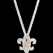 Fleur de Lis Diamond Pendant Necklace Vintage 14 Karat Gold Estate Fine Jewelry