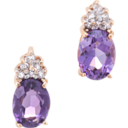 Amethyst Diamond Stud Earrings Vintage 14 Karat Yellow Gold Estate Fine Jewelry