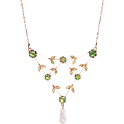 Antique Russian Peridot Pearl Wreath Necklace Vintage 14 Karat Rose Gold Jewelry