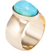 Natural Opal Cigar Wide Band Ring Vintage 14 Karat Yellow Gold Estate Fine Jewelry