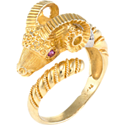 Ram Cocktail Ring Vintage 18 Karat Gold Diamond Ruby Aries Astrology Jewelry Fine