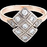 Russian Diamond Ring Vintage 14 Karat Rose Gold Estate Fine Jewelry Heirloom 7.5