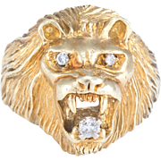 Maurice Katz Lion Ring Mens Vintage 14 Karat Yellow Gold Estate Fine Jewelry