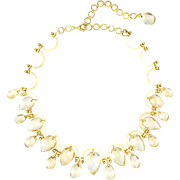 Golden Yellow Topaz Statement Choker Necklace Vintage 18 Karat Gold Estate Jewelry