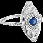 Art Deco 900 Platinum Diamond Sapphire Filigree Sheild Cocktail Ring Vintage