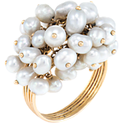 Cultured Pearl Charm Ring Vintage 18 Karat Yellow Gold Estate Fine Jewelry Heirloom